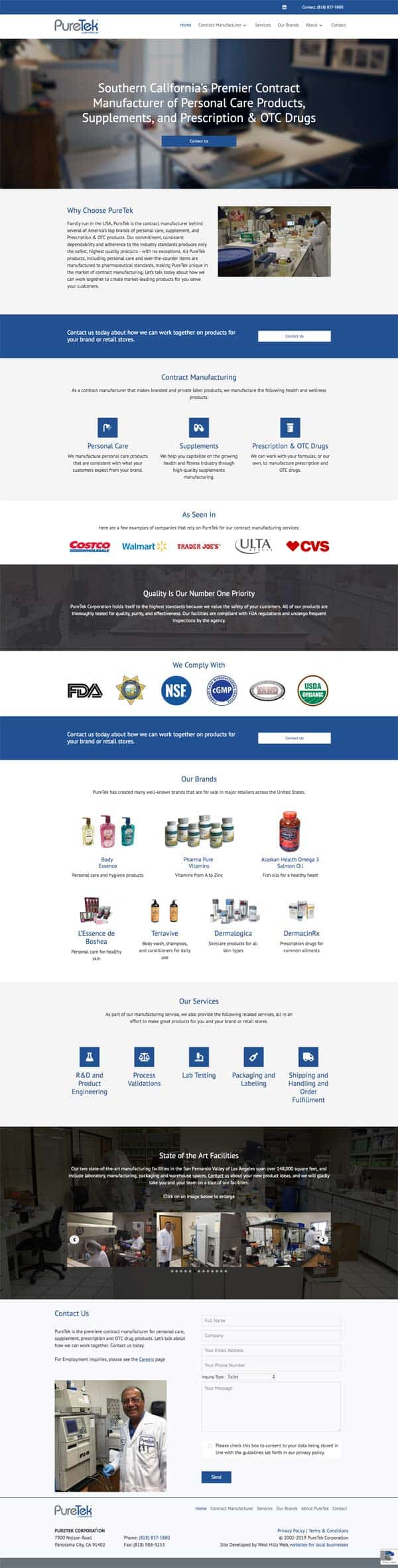 Puretek Corp. - Contract Manufacturer of Personal Care Products, Supplements, and Prescription & OTC Drugs